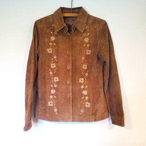 Skotts Suede 90s Y2K Tan Embroidered Floral Washable Suede Blazer Jacket